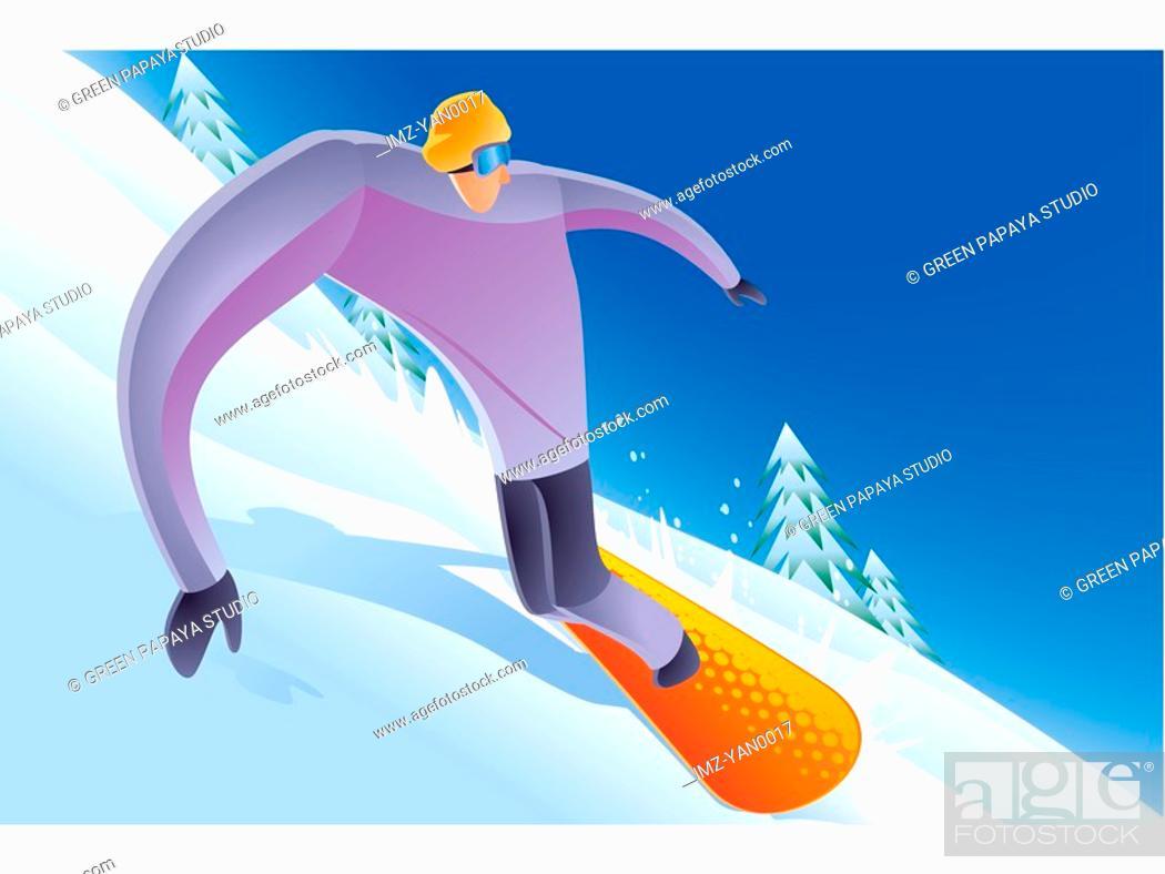 Stock Photo: A man snowboarding downhill.
