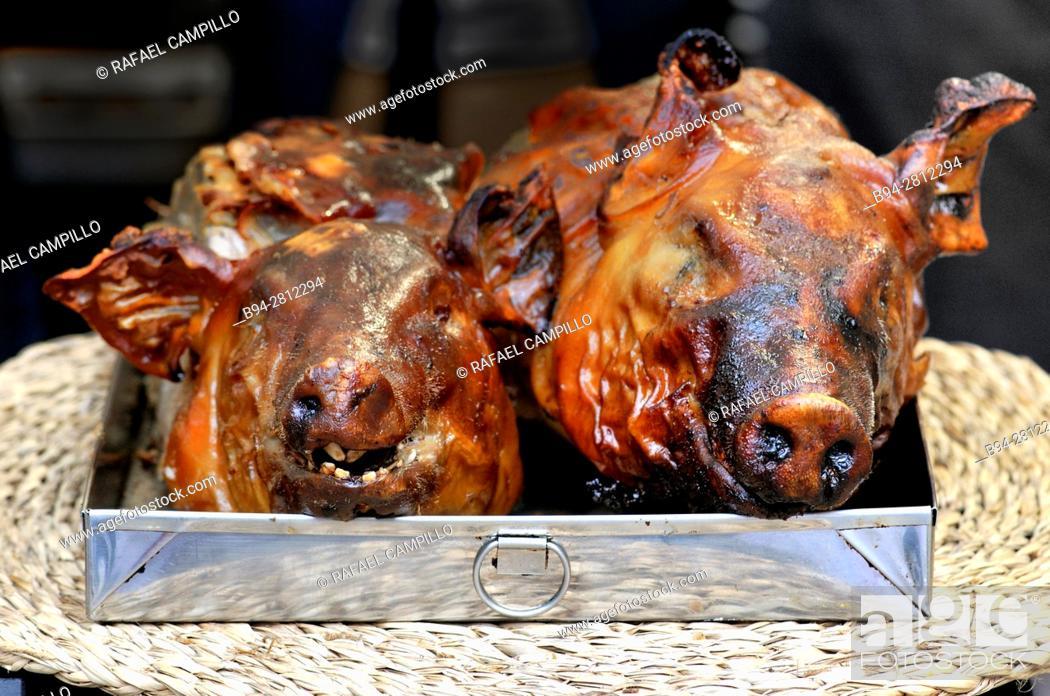 Stock Photo: Roast suckling pig. Sant Josep aka La Boqueria market, Barcelona. Catalonia, Spain.