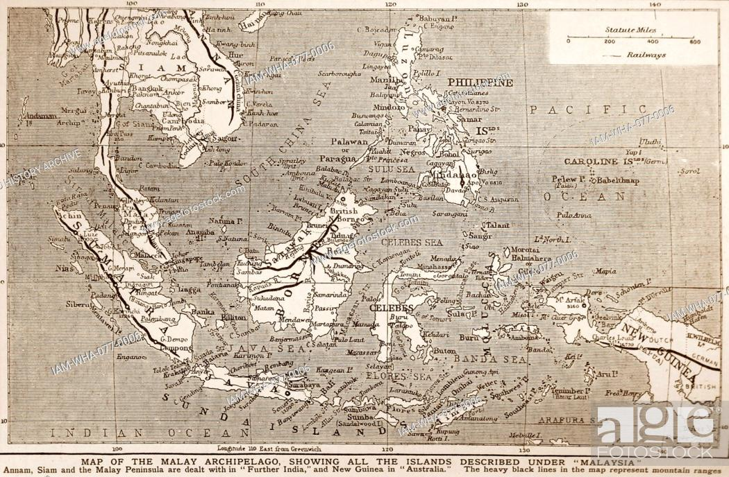 1900 Map Of South East Asia Showing The Philippines Malaya