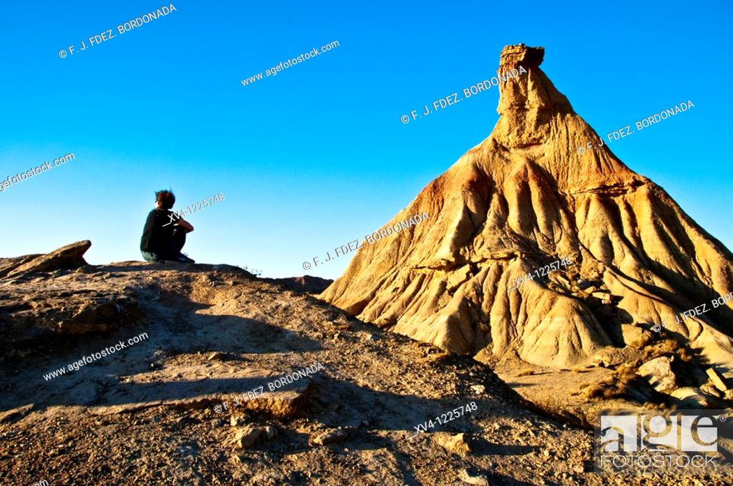 Stock Photo: Bardenas Reales de Navarra Nature Park  Navarre  Spain  Europe.
