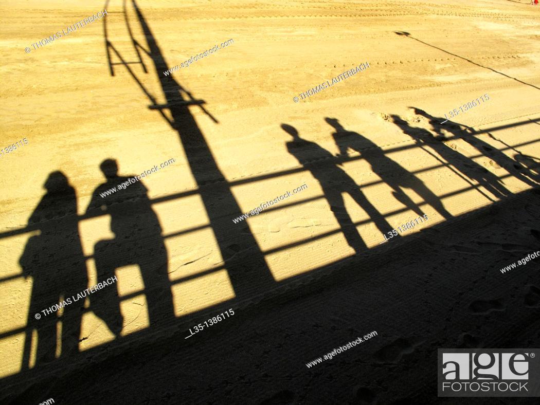 Stock Photo: Shadows of people on the beach of La Palma, Spain.