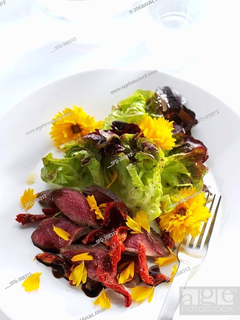 Stock Photo: Lamb with salad leaves and Calendula flowers.