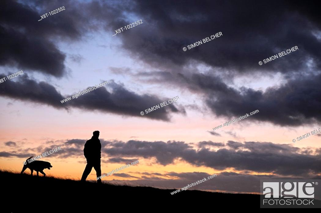 Stock Photo: Man Walking His Dog Through a Field, Silhoutted by the Dusk Sky.