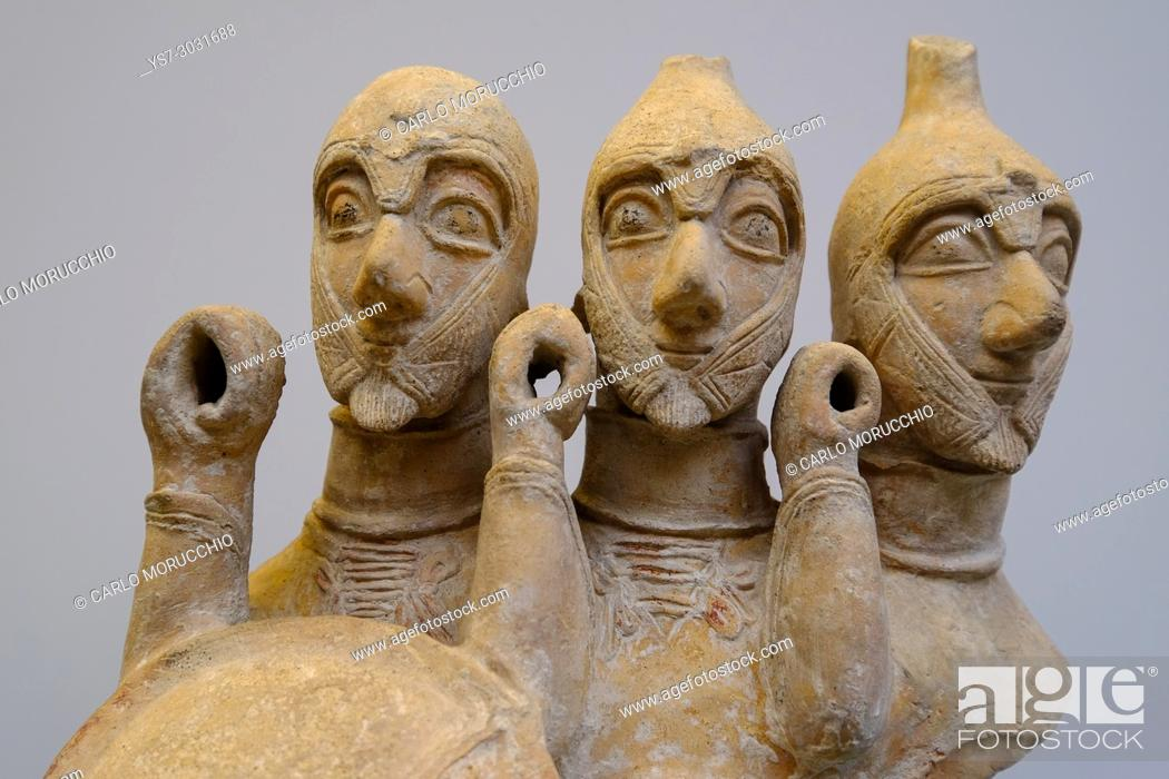 Stock Photo: Triple bodied warrior from Cyprus, the British Museum, London, United Kingdom.