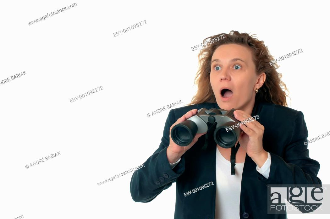 Stock Photo: A woman in business attire with binoculars, shocked and outraged.