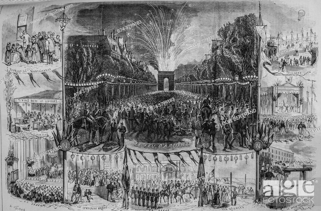 Photo de stock: la fete national du 15 august, the illustrated universe, publisher michel levy 1868.