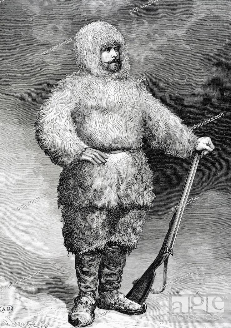 Stock Photo: Portrait of Julius von Payer (Schoenau, 1842 - Veldes, 1915), Austrian explorer and leader of the Tegetthof Arctic expedition. Engraving.