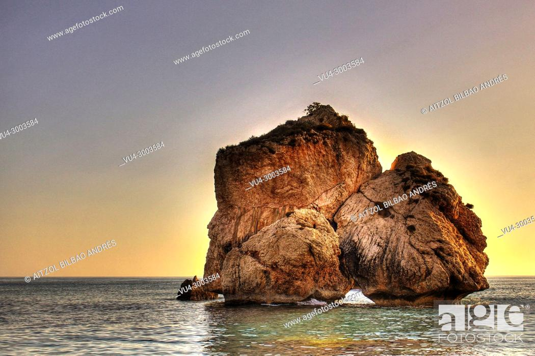 Stock Photo: Aphrodite's mythical birthplace 'Petra tou Romiou' is an interesting geological formation of huge rocks along one of the most beautiful coastlines on the island.