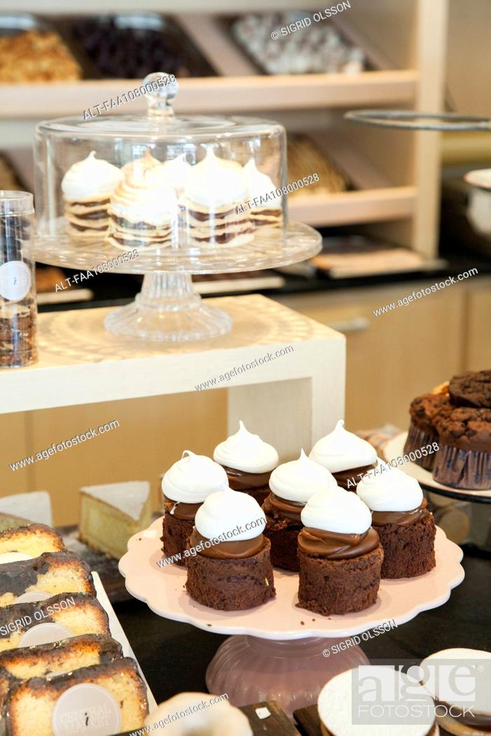 Stock Photo: Desserts in bakery.