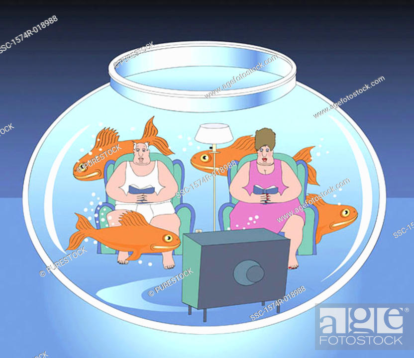 Stock Photo: Living in a Fishbowl 2004 Linda Braucht (20th C. American) Computer graphics.