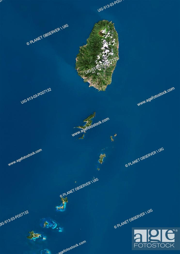 Imagen: Satellite view of Saint Vincent and the Grenadines. This image was compiled from data acquired by Landsat satellites.