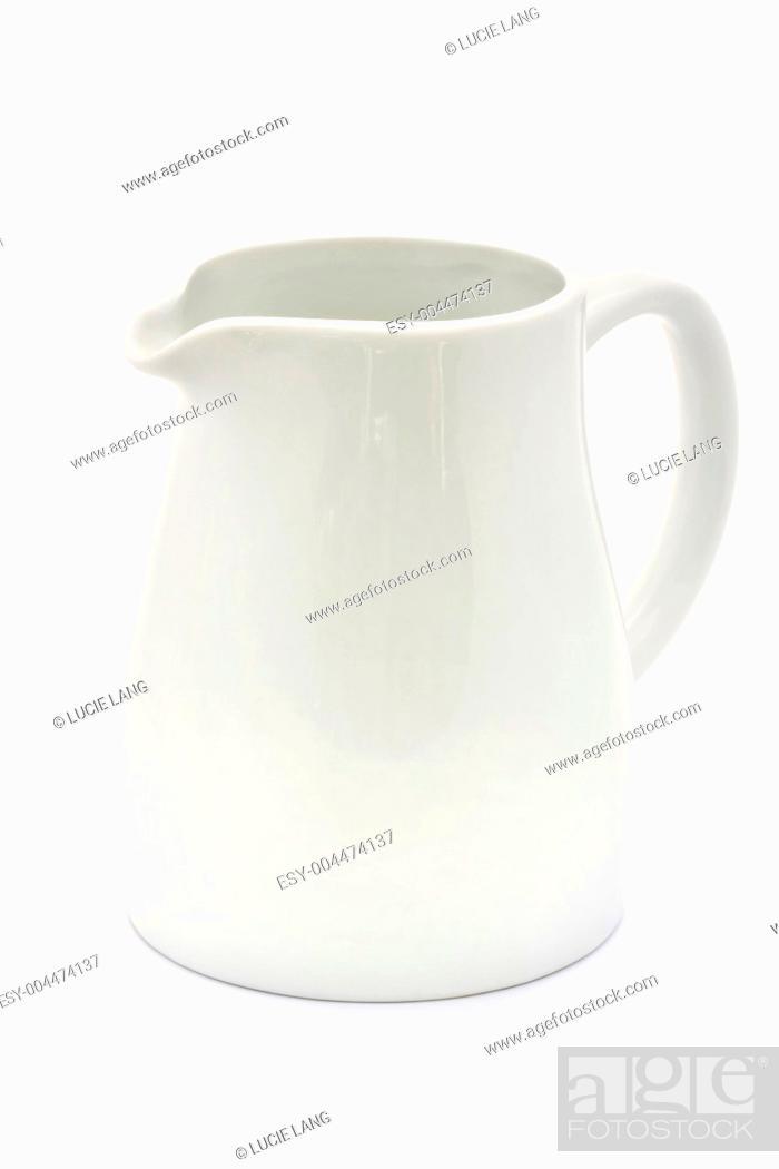 Stock Photo: white ceramic jug over white.