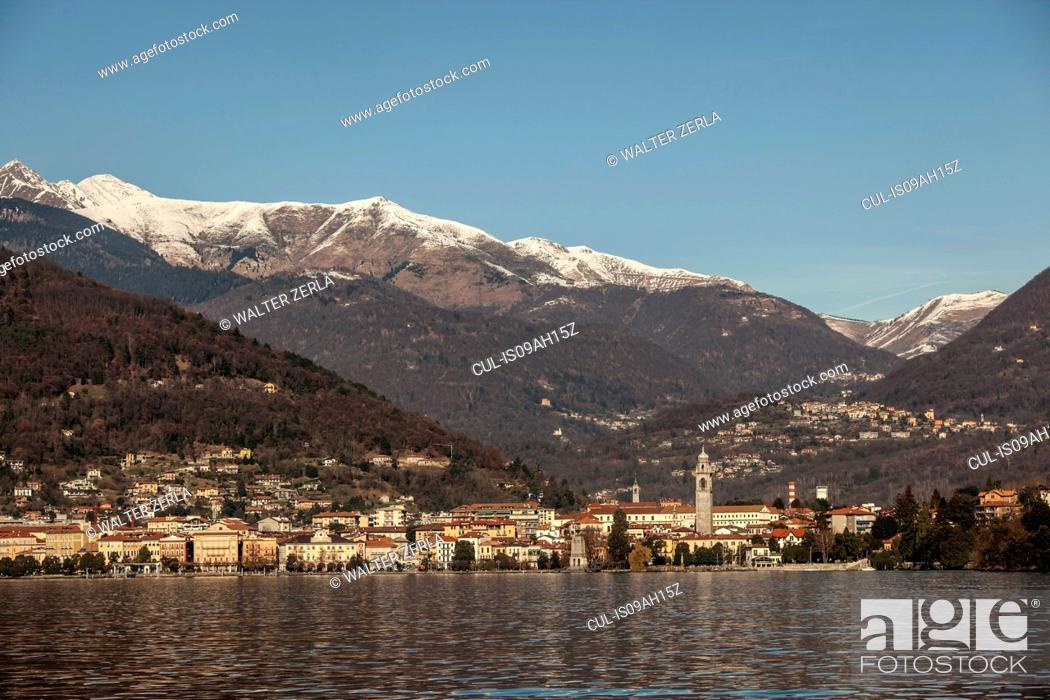 Stock Photo: Verbania and Lake Maggiore, Piemonte, Novara, Italy.