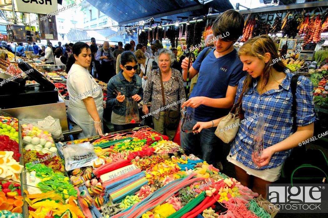 Stock Photo: Sant Josep market (aka La Boqueria), Barcelona, Catalonia, Spain.