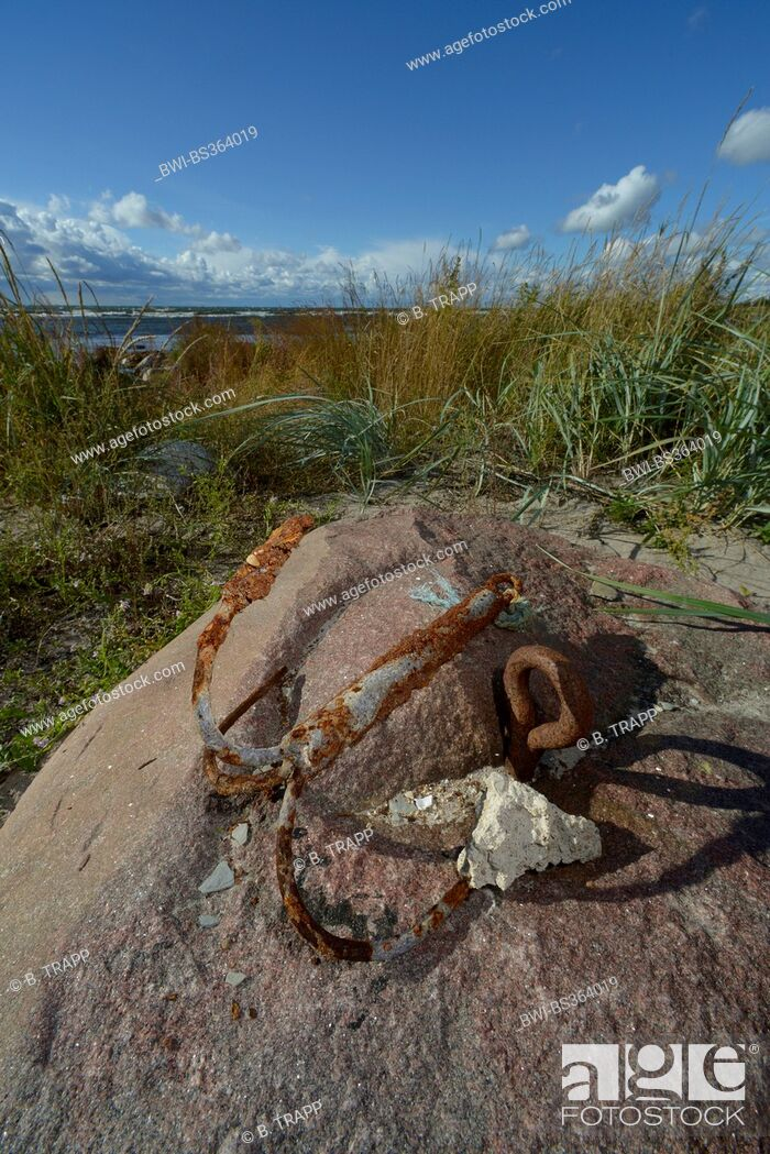 Imagen: rusty anchor on a stone, Sweden, Gotland.