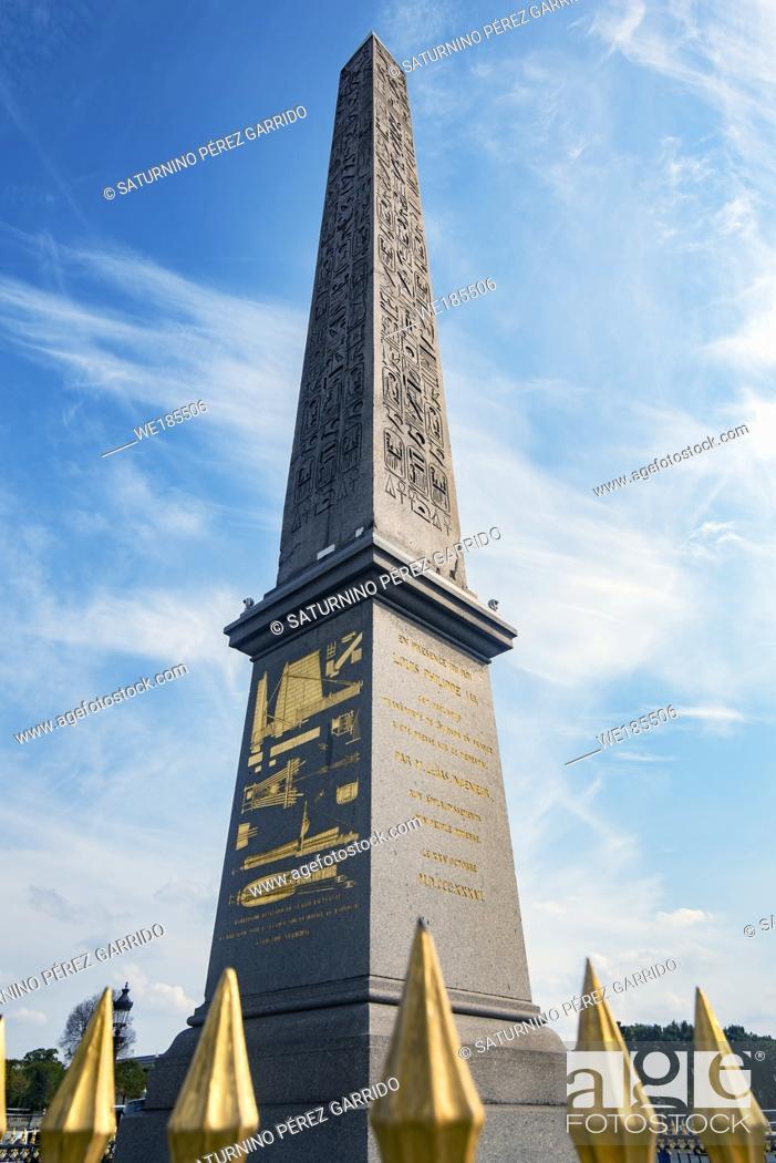 Stock Photo: Obelisk of Ancient Egypt located in the Place de la Concorde De Paris, France.