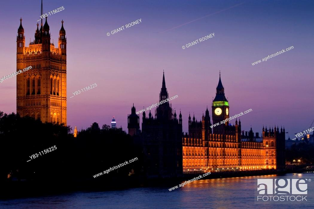 Stock Photo: The Victoria Tower and Houses of Parliament at Dusk, London, England.