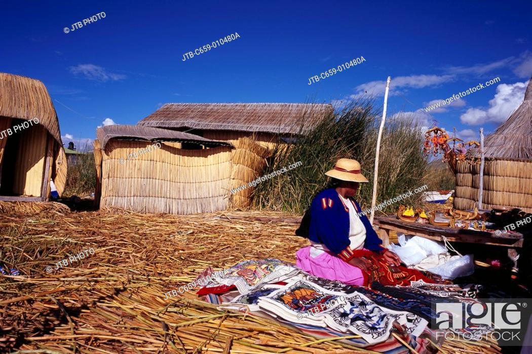 Stock Photo: Reed Island, People, House, Uros Island, Titicaca Lake, Peru, Central South America.