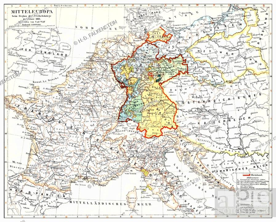 Central Germany Map.Historical Map Of Germany And Central Europe At The Beginning Of The