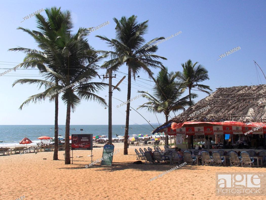 Stock Photo Beach Umbrellas Palm Trees And Restaurant Benaulim Goa India