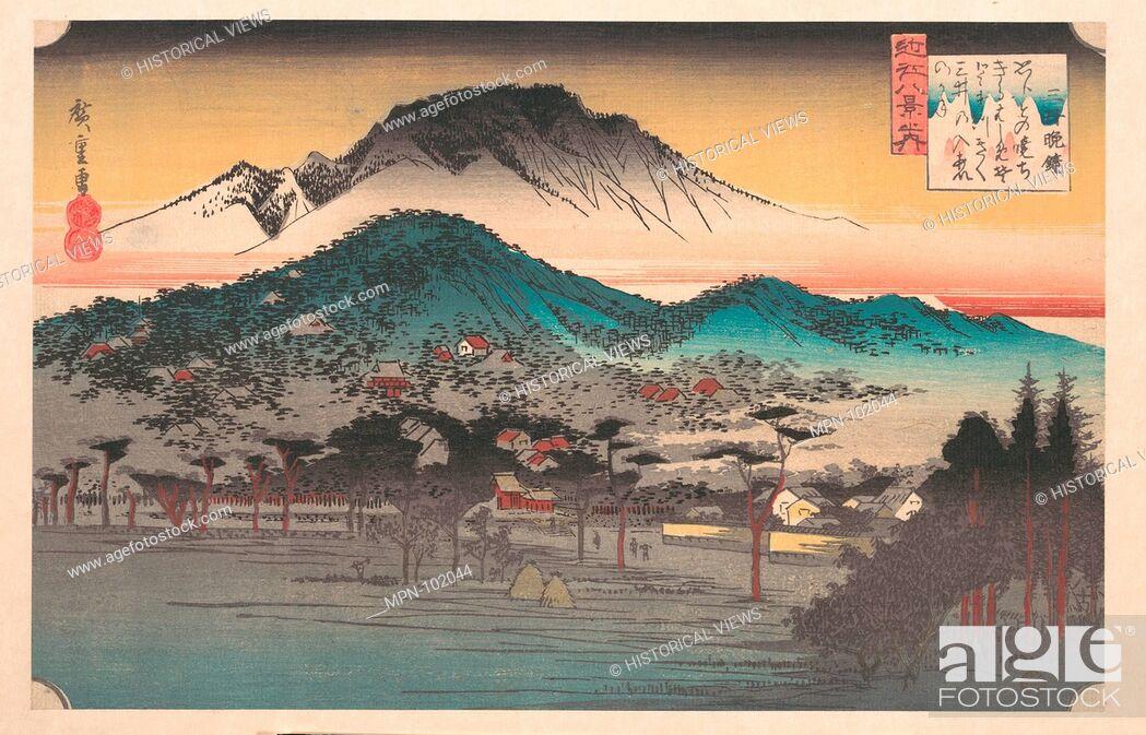 Stock Photo: Vesper Bell at Mii Temple, Lake Biwa. Artist: Utagawa Hiroshige (Japanese, Tokyo (Edo) 1797-1858 Tokyo (Edo)); Period: Edo period (1615-1868); Date: ca.