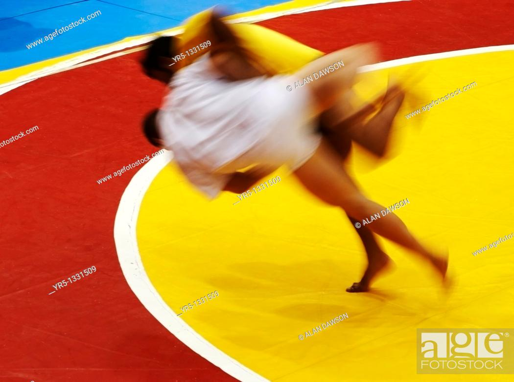 Stock Photo: Lucha Canaria Canarian wrestling on Gran Canaria in the Canary islands.