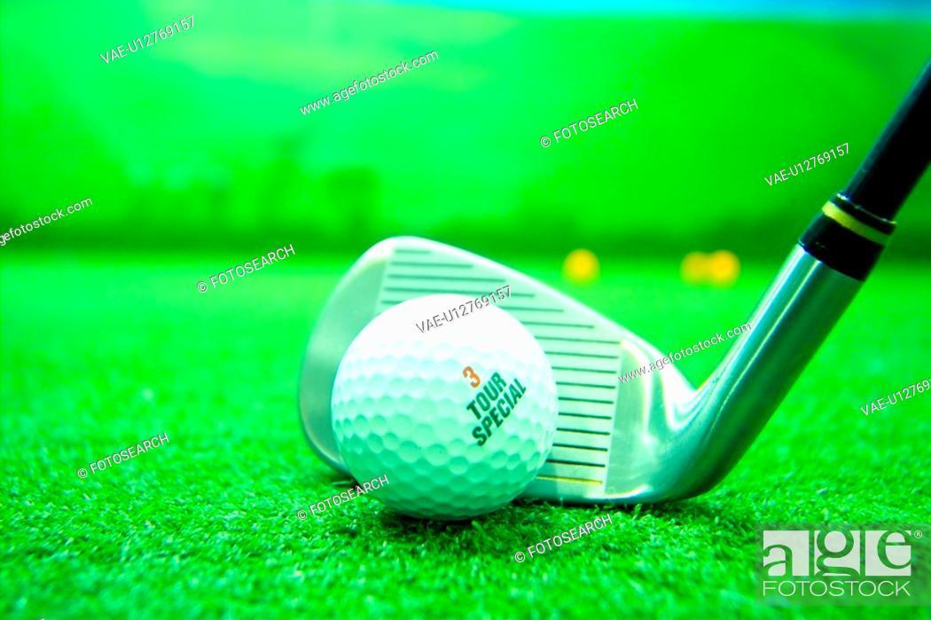 Stock Photo: club, leisure, ball, golfball, golf, iron, sports.