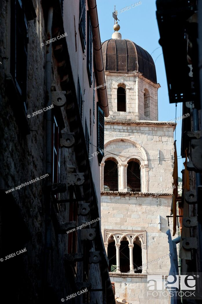 Stock Photo: Belfry of the Franciscan Monastery at main boulevard Stadrun , Old Town, Dubrovnik  Croatia.