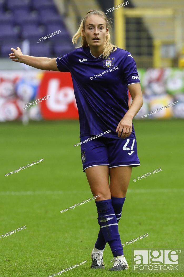 Stock Photo: Anderlecht's Tessa Wullaert pictured during the soccer match between RSCA Anderlecht and Standard de Liege, on the first day of the Women¿øs Scooore Super.