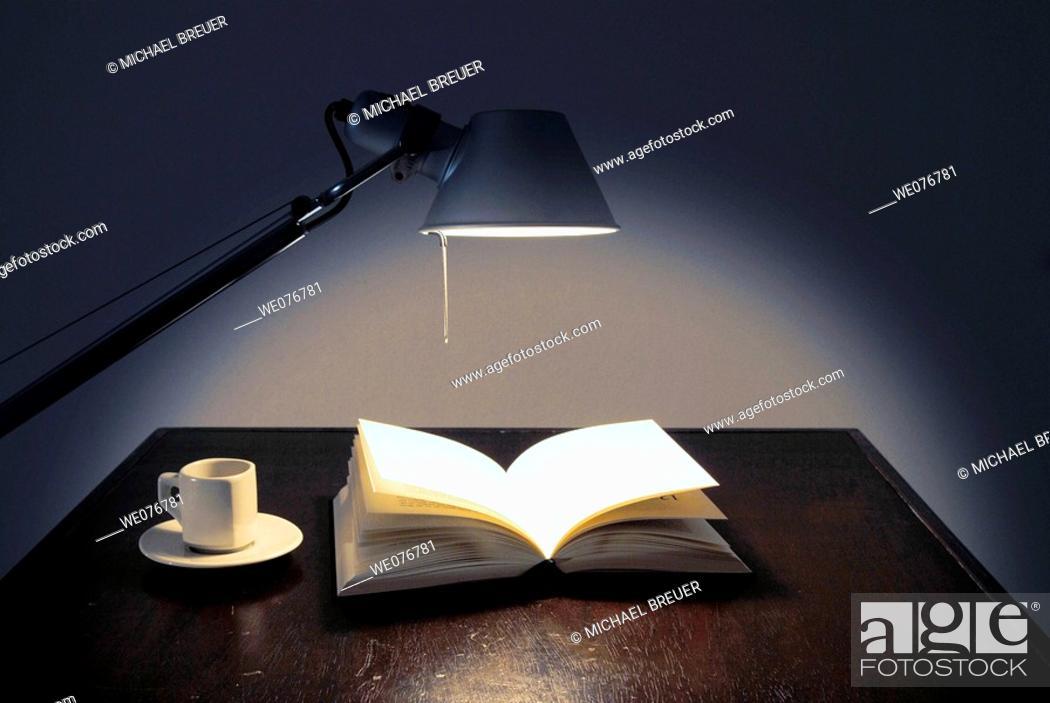 Stock Photo: Book, Desk lamp, Desk light.