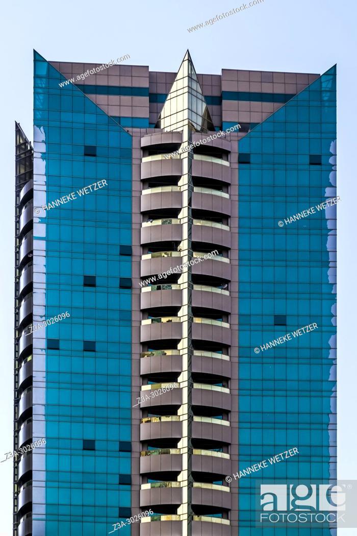 Stock Photo: Modern architecture at the WTC in Dubai, UAE.