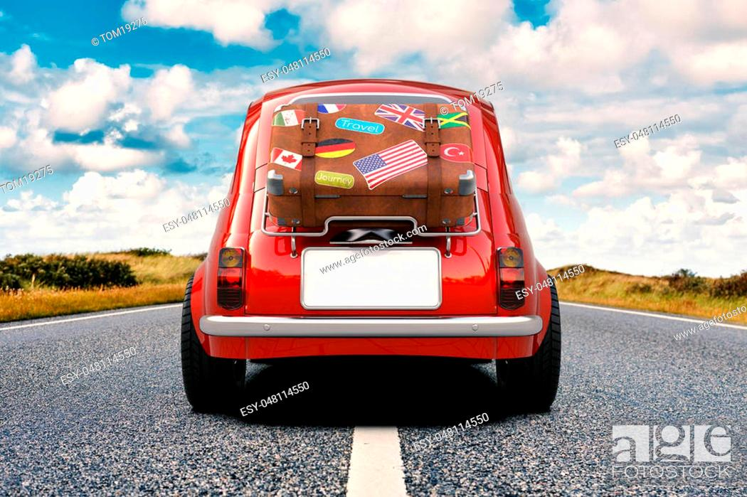 Stock Photo: Little red car with suitcase on luggage rack, vacation trip on the road, 3D rendering.