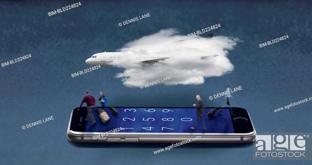 Stock Photo: Airplane in cloud floating over travelers walking on cell phone.