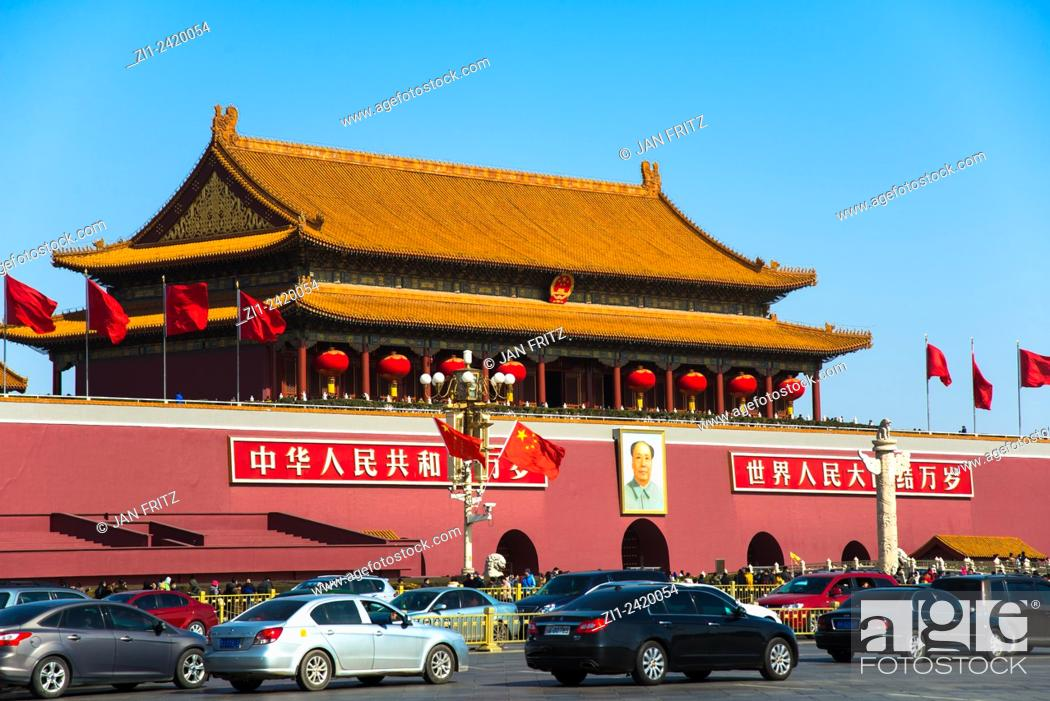 Stock Photo: entrance of imperial forbidden city with mao image and traffic at beijing china.