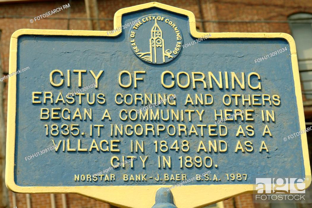 Stock Photo: Corning, NY, New York, Historic Downtown.