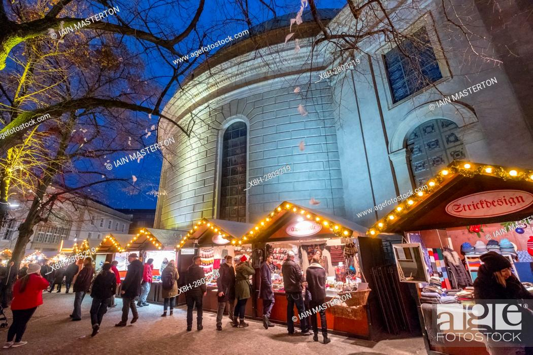 Stock Photo: Night view of traditional Christmas Market at St Hedwig's Cathedral at night in Mitte Berlin Germany 2016.