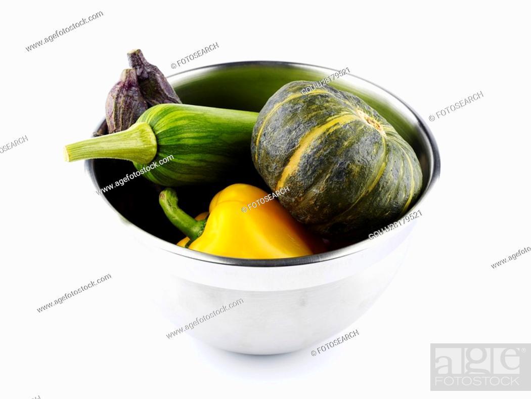 Stock Photo: stainless steel bowl, sweet pumpkin, paprika, bowl, eggplant, zucchini.