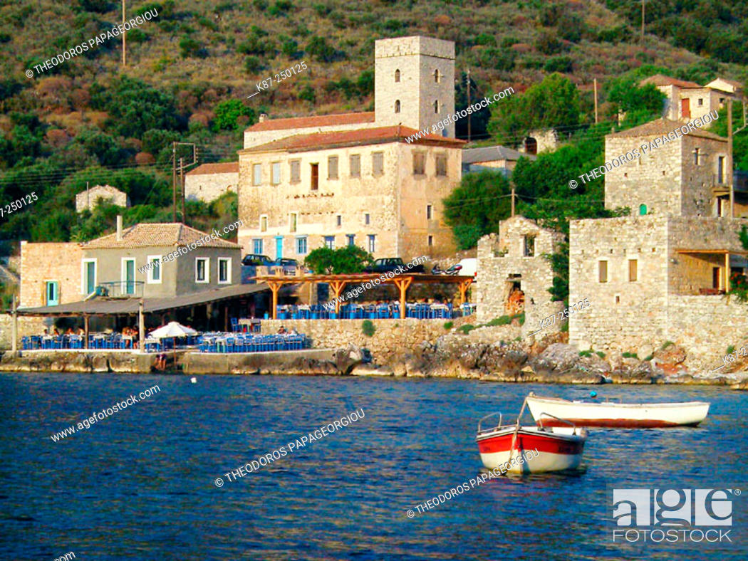 Stock Photo: Limeni village at Mani peninsula. Laconia, Peloponnese. Greece.