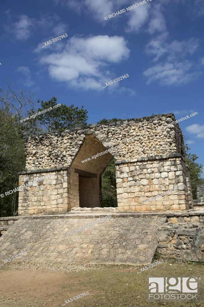 Stock Photo: Entrance Arch, Ek Balam, Yucatec-Mayan Archaeological Site, Yucatan, Mexico.