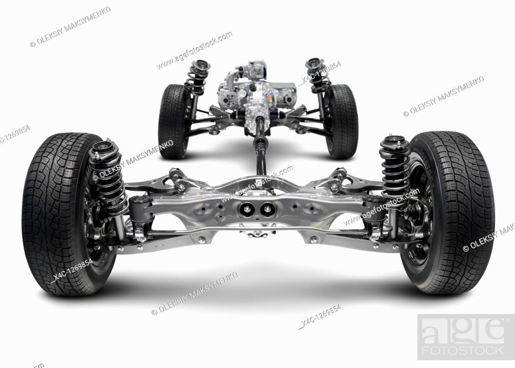 Stock Photo: Subaru symmetrical All-wheel Drive AWD suspension system  Isolated with clipping path on white background.
