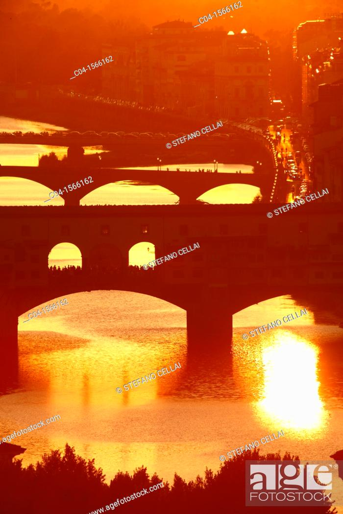 Stock Photo: Sunset and Arno river, Florence, Tuscany, Italy.