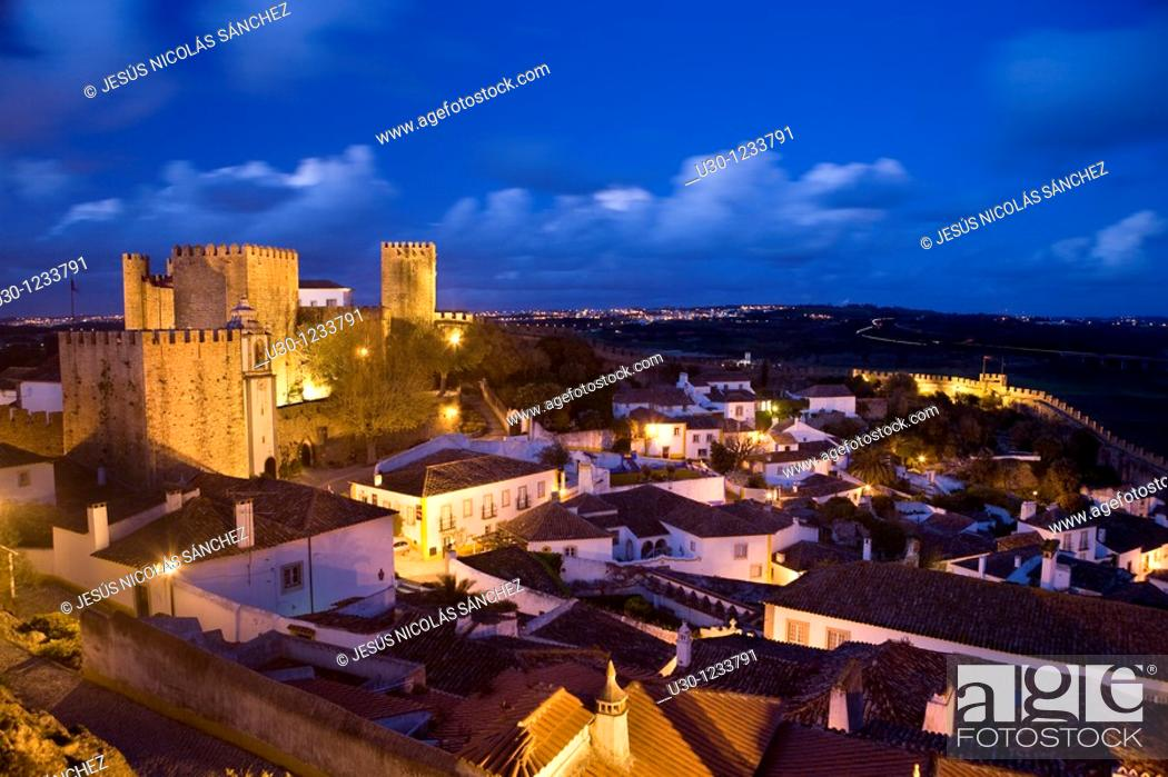 Stock Photo: Night view of the Historic Village of Obidos, in Estremadura  Leiria District  Center Region  Portugal.