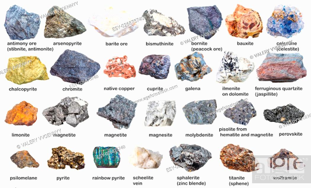 Stock Photo: set from raw minerals and ores with names isolated on white background.