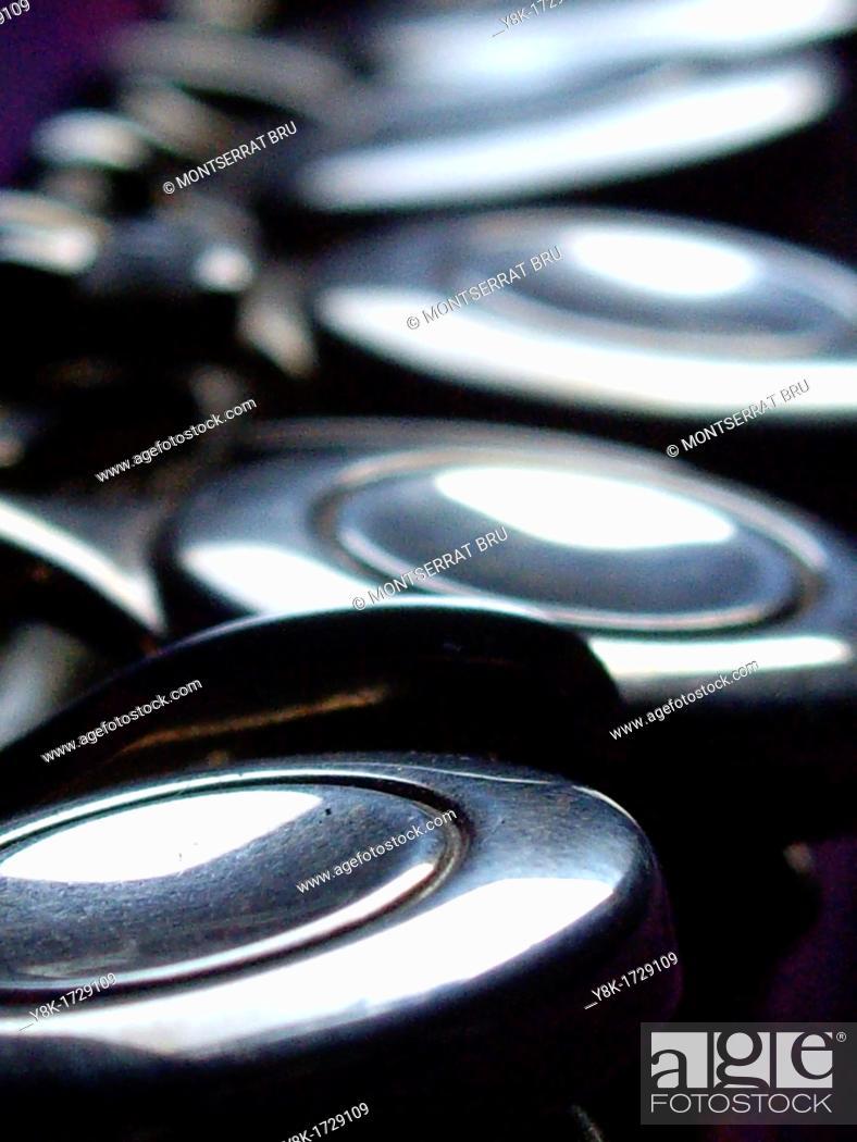 Stock Photo: Transverse flute keys closeup, music instrument.