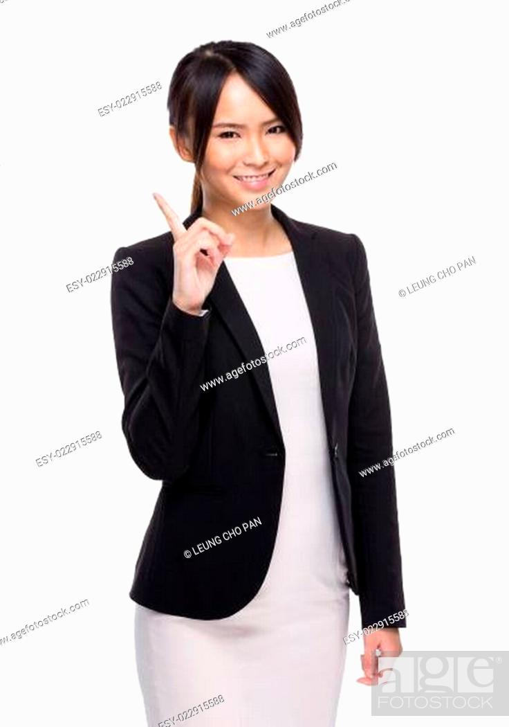 Stock Photo: Businesswoman with finger point out.