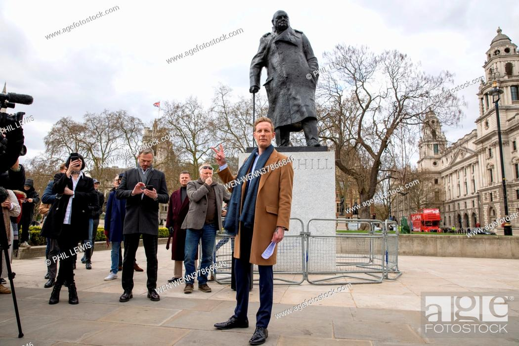 Imagen: ***VIDEO AVAILABLE***EMAIL PIX@WENN.COM*** Laurence Fox launches his London Mayoral Election Manifesto in Parliament Square Featuring: Laurence Fox Where:.