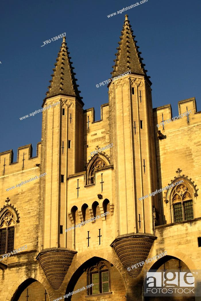 Stock Photo: twin towers of the Palais des Papes, Pope's Palace, in Avignon, Provence, France, Europe.
