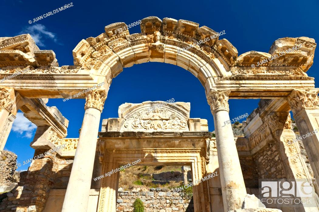 Stock Photo: Temple of Hadrian, old Roman city of Ephesus, Selçuk, Izmir province, Turkey.