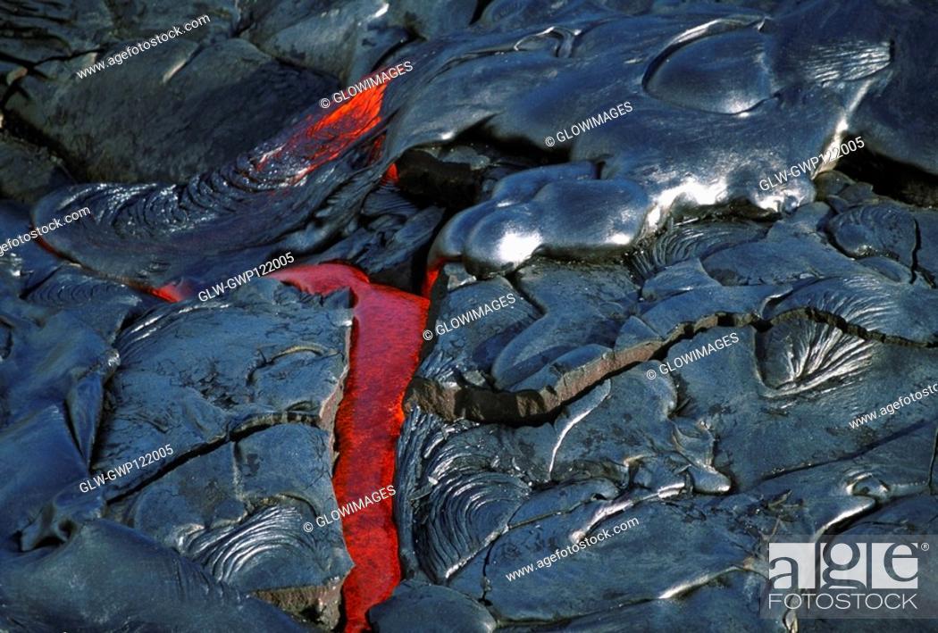 Stock Photo: Flowing molten lava, Hawaii.