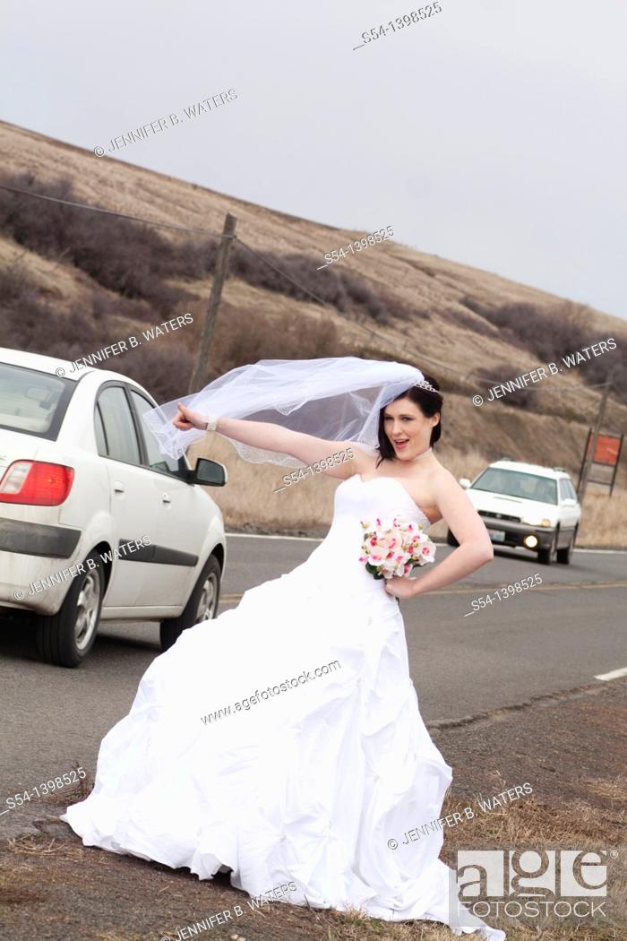 Stock Photo: A young woman in a bridal gown, hitchhiking on a country road in Rosalia, Washington, USA.